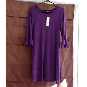Purple crew neck t-shirt dress